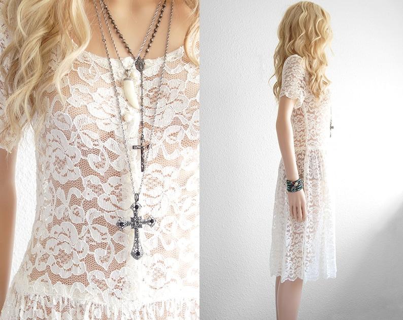 a504437ebd74 Pizzo bianco pizzo abito bohemien matrimonio vestito pizzo