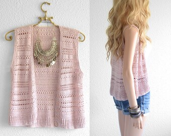 Blush Pink Crochet Vest Crochet Top Hipster Sleeveless Knit Open Weave Jacket Crochet Vest Cardigan Top Crochet Top Crochet Beach Coverup s