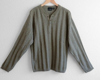 Mens  Cotton Sweater Green Sweater Mens Chunky Camp Sweater Hiking Mens Boho Sweater Sports Fashion Clothing  Mens  Vintage Sweater L XL
