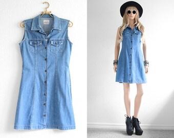 Levis Dress Vintage Levis Denim Dress Jean Dress Levis Dress Boyfriend Jean Denim Levis Dress Levi Denim Dress Blue Jean Hipster Dress  S