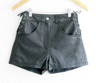 Leather Shorts High Waist Shorts Black Leather Shorts Leather High Waisted Shorts Vintage Club Kid Festival 90s Grunge vtg waist 23 24 25 26