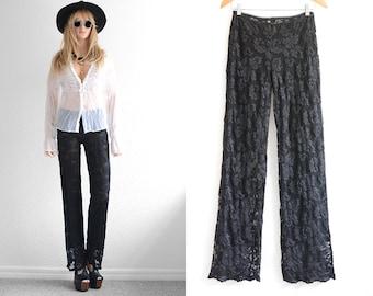 70s Black Lace Pants Vintage Boho Pants Black Lace Womens Palazzo Pants Vtg Boho Wide Leg Pants Floral Lace Pants S