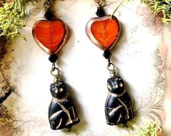 Spooky Autumn Black Cat Orange Heart Earrings by MinouBazaar