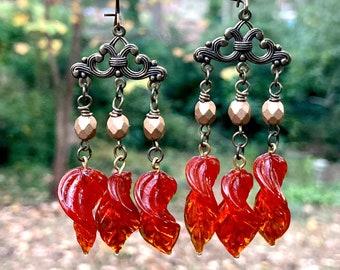 Pumpkin Spice Orange Leaf Earrings Glass Leaves Autumn by MinouBazaar