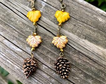 Autumn Pine Cone Woodland Earrings by MinouBazaar