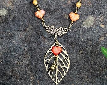 Autumn Leaves Necklace Acorns Fairytale Woodland Forest Enchanted Nature by MinouBazaar
