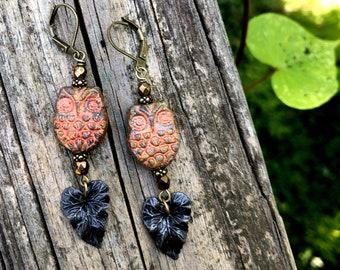Spooky Owl Earrings Autumn Fall by MinouBazaar
