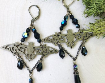 Bat Earrings Victorian Halloween Witch by MinouBazaar