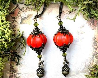 Pumpkin Queen Earrings Acorns Autumn Fall by MinouBazaar