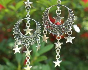Silver Moon and Star Earrings by MinouBazaar