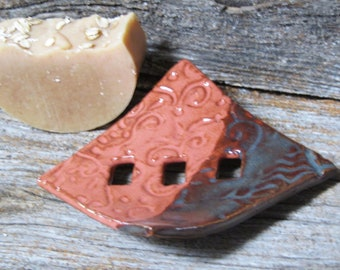 Rustic Textured  Soap Dish, unique stoneware art