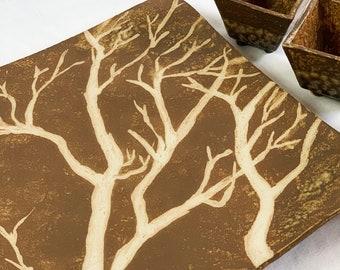 Stoneware Platter and Dipping Bowl Set - Tree Art