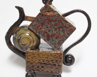 Stacked Box Teapot -  hand-built stoneware