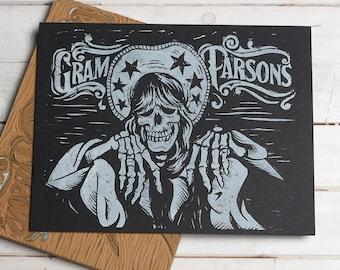 Gram Parsons Block Print