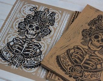 La Rosa Catrina - Kraft Block Print