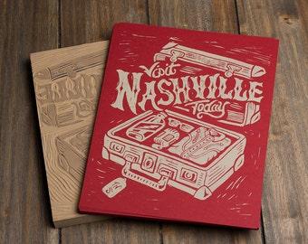 Visit Nashville Today - Red Block Print