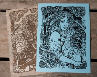 Protecting the Sacred Fawn -12 x 16 Block Print