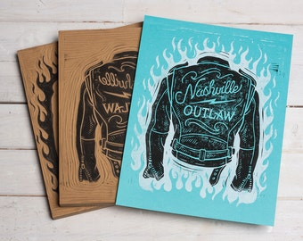 Nashville Outlaw - Blue Block Print