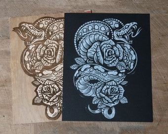 Venomous Rose -  Block Print