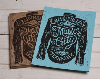 Nashville Music City-  Blue Block Print