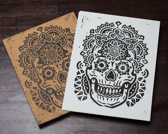 The Mandala Skull -  Block Print