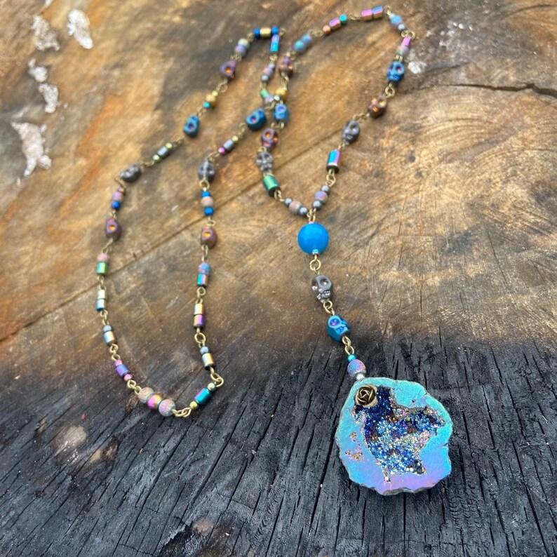 Titanium Aura Quartz Geode Rosary