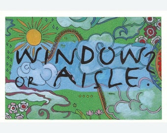 Original art - Window or Aisle (on the country and the city), Handpainted Postcard