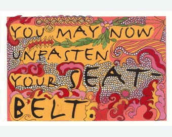 Original art - You May Now Unfasten Your Seatbelt (on the exotic), Handpainted Postcard
