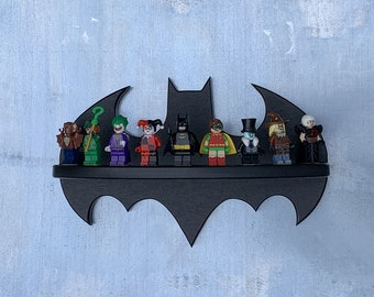 Bat Shaped Minifigure Display Shelf Ideal For The LEGO Batman Series Made From Recycled Poly Lumber And Bricks
