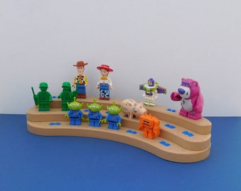 Large Crescent Shaped Minifigure Display Stand, light wood poly lumber, holds 22 figures.