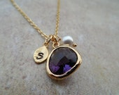 Silver or Gold February Amethyst Birthstone necklace, Availabe in all birthstones, Bridesmaid Gift, Birthday Gift, Flower Girl Gift