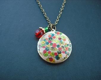 SALE - Nasturtium Floral locket necklace