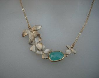 Bridesmaids gift, Wedding Gift - matte 16K gold plated Fourfold Wild Orchid Flowers necklace - Aqua Blue Bezel