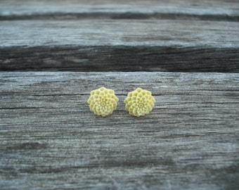 Yellow mum post earring