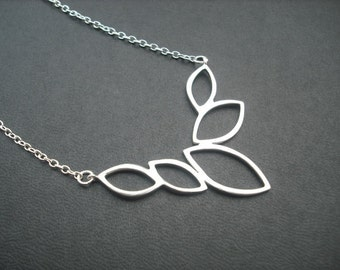 multi marquise necklace - matte white gold plated