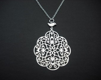 filigree with bird necklace - white gold plated
