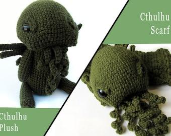 Crochet PATTERN Bundle PDF - Amigurumi Cthulhu Scarf and Cthulhu Plush - amigurumi pattern, monster scarf, crochet amigurumi plush, softie