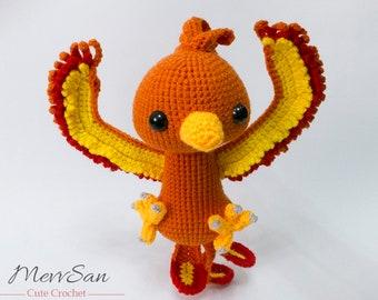Crochet PATTERN PDF - Amigurumi Scarlet the Phoenix - crochet animal pattern, amigurumi phoenix pattern, bird plush, cute crochet phoenix