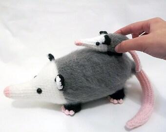 MADE to ORDER - Amigurumi Opossum and Babies - cute crochet opossum, marsupial, crochet animal plush, children's toy, softie