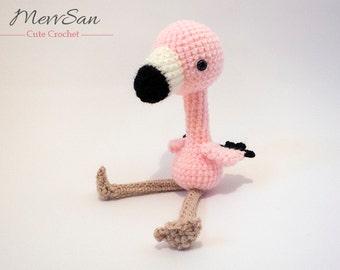 Crochet PATTERN PDF - Amigurumi Flamingo - crochet animal pattern, amigurumi bird pattern, cute crochet flamingo plush, bird softie,