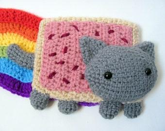 Crochet PATTERN - Amigurumi Pop Tart Cat, Nyan Cat, Scarf