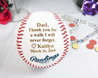Authentic MLB Baseball Father of The Bride Personalized Gift, Thank You for Walk I Will Never Forget, Gift For Dad, Daughter to Father Gift