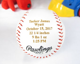 Baseball keepsake etsy baseball baby announcement gift personalized engraved baseball first fathers day gifts gift new negle Images