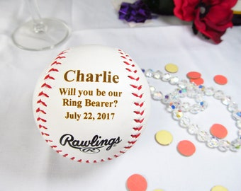 Custom Ring Bearer Proposal Gifts Baseball, Personalized Will You Be Our Ring Bearer, Ring Bearer Invitation, Wedding, Ring Security