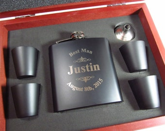 Groomsman Flask Set with Wood Gift Box, Best Man Gift, Custom Hip Flask Set, Engraved Flask Set, Groom Gifts, Rosewood Finish Case