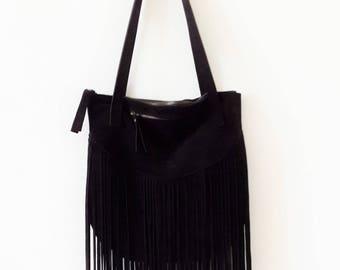 ON SALE Black suede Fringes  Leather tote bag - Shoulder Bag -Every day leather bag - Women bag