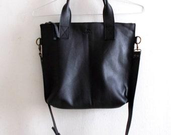 Black leather tote - Handbag - Cross-body bag - Every day bag - Women bag - Shoulder leather bag