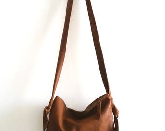 Brown leather bag, cross bady bag,