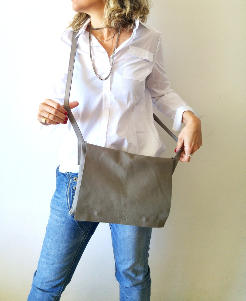 crossbody  bsg Messenger bag leather bag GRAY bag