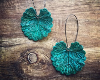 Lily Earrings / Verdigris Patina / Leaf Earrings / Verdigris Jewelry / Lily Jewelry / Leaves Earrings / Patina Lily / Lily Pad Earrings